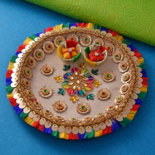 Red round beads & Green Rakhi with 6 inch colorful thali