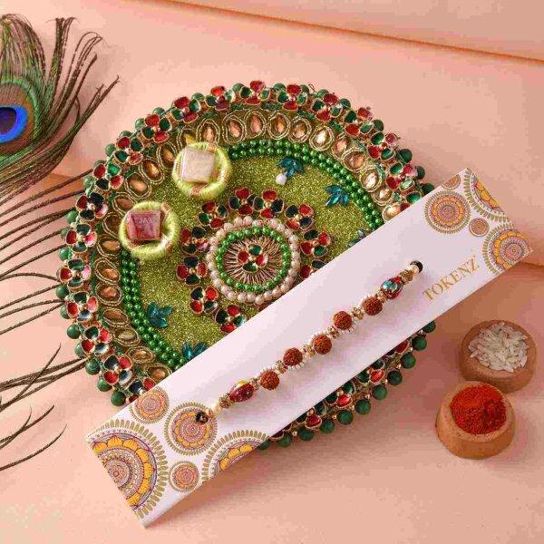 Fancy Rudra & white bead rakhi with 5inch thali
