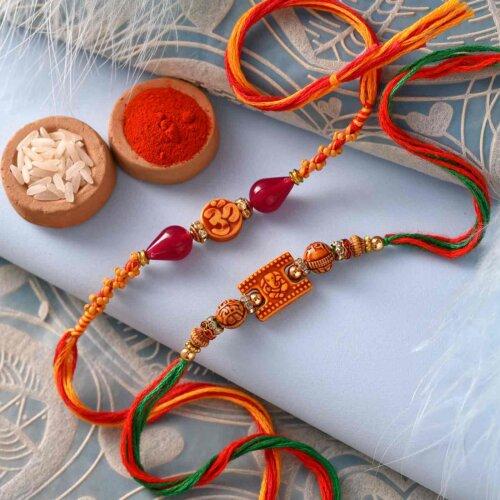 Besan Laddoo with Om and Ganesha Rakhi Set