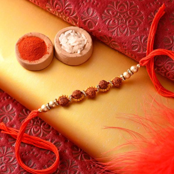 Mewa Bite with Multiple rudraksh and Wooden Beads Rakhi