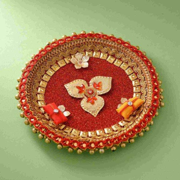 Auspicious Rudraksh Rakhi & Red gliterry 5 inch  thali