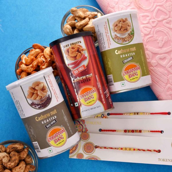 Triple Rakhi Threads Paired with Triple Flavoured Cashewnuts