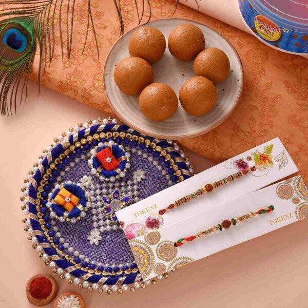 Lovely Crystall-Rudraksh rakhi with besan ladoo and thali
