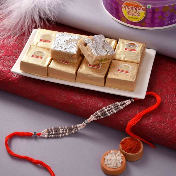 Mewa Bites with Unique Grey and White Beads Rakhi