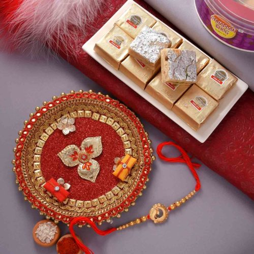 Royal Ganesha rakhi with  Meva Bite and designer thali