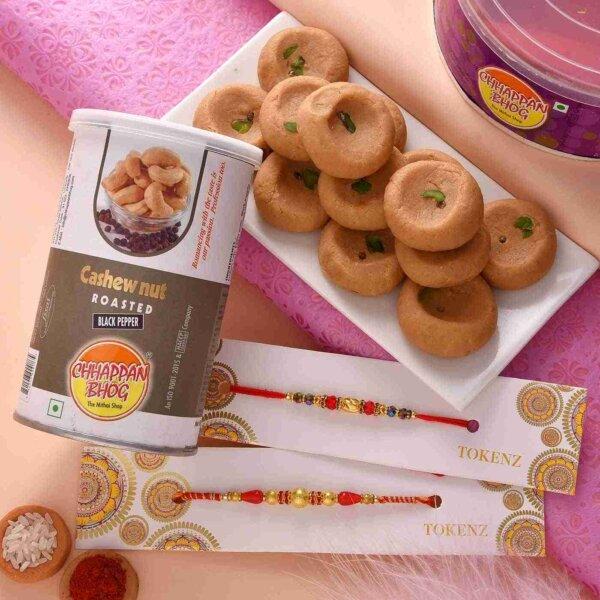 Multiple Rakhis with Mathura Peda and Roasted Cashewnuts.
