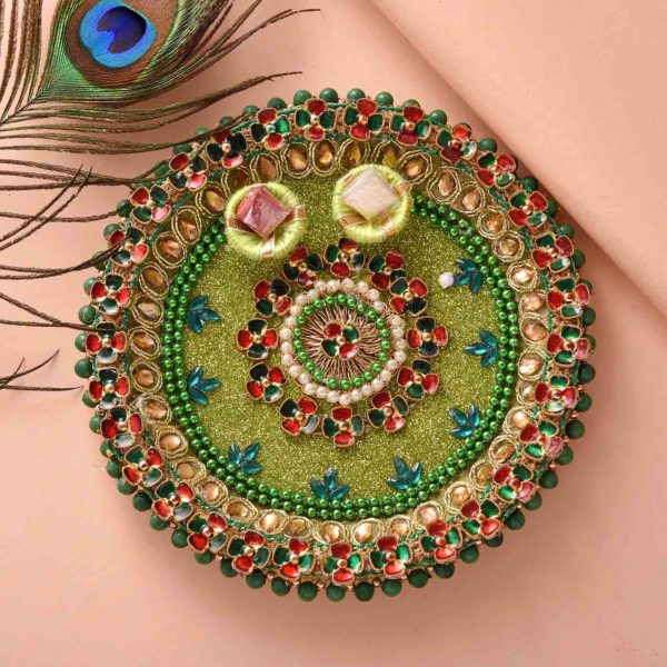 Authentic Rudraksh Rakhi with gorgeous green thali