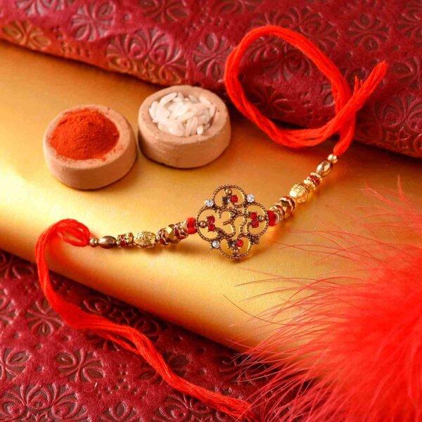 Mathura Peda with Stone Studded Designer OM Rakhi.