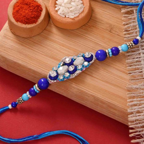 Striking Blue Rakhi with Flavoured Pistachio and Cashewnuts