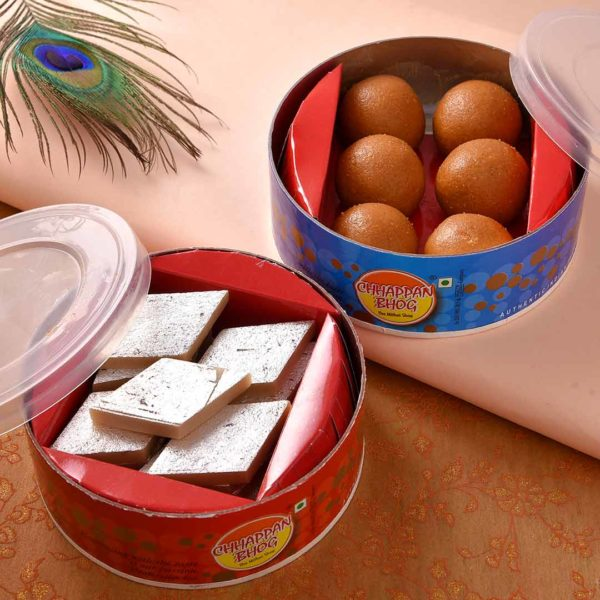 Kaju Barfi and Besan Laddoo with Alluring Ghungroo Rakhi Set