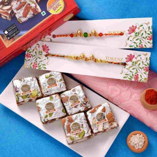 Figberry with Elegant Ghungroo and Beads Rakhi Set.