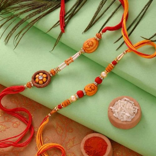Batisa Slice Paired with Om and Unique Beads Rakhi Set.