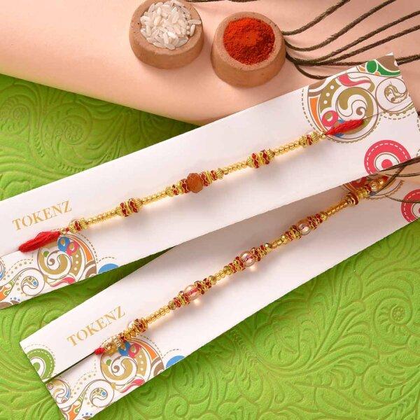 Kaju Barfi and Besan Laddoo with Attractive Beads Rakhi Set