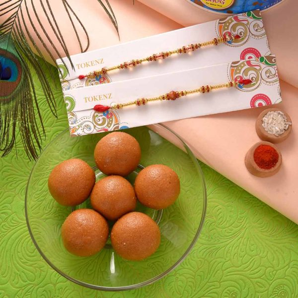 Red and Golden Beads with rudraksh Rakhi