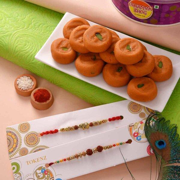 Kesar peda with metallic elephant and rudraksh rakhi Set.