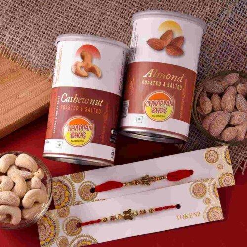 Flavoured Cashewnuts and Almond With Metallic Butterflies Rakhi Set
