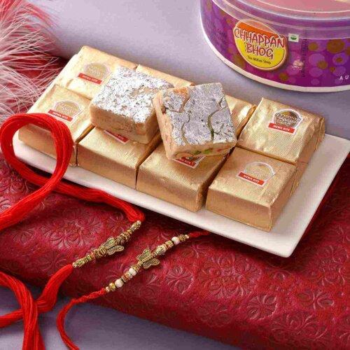 Designer rakhi set with Meva Bite and Thali
