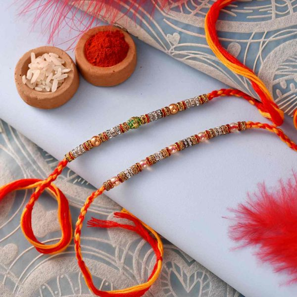 Stone and Beads Rakhi with Mathura Peda & Thali