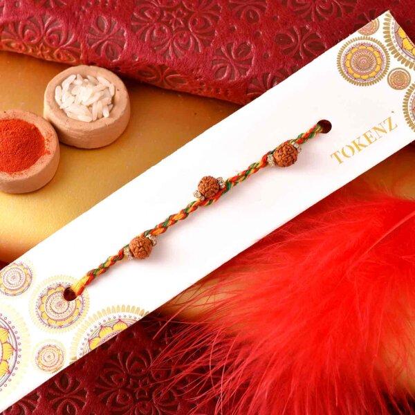 Kaju Barfi with Multi Coloured Thread rudraksh Rakhi