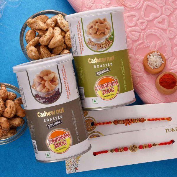 Rakhi set with two cashew flavors