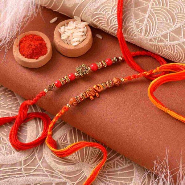 Mathura Peda with Unique Set of Beads Rakhi