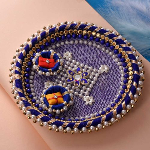 Om double stand rakhi with pearl 6 inch thali