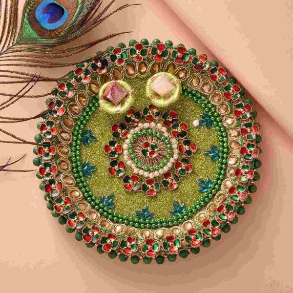 Ethnic om and Ganesha Rakhi with Kaju Barfi and Green Thali-Set of 3.