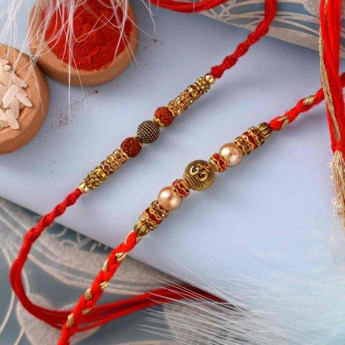 Unique stones and pearls rakhi( Set of 2)