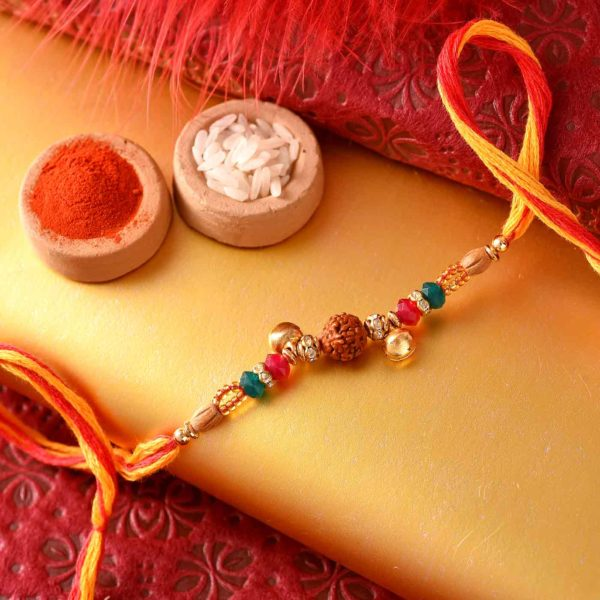 Ghungroo mixed with rudrakh rakhi & 5 inch gorgeous thali