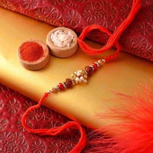 Desingner Rakhi with Pearl and rudraksh
