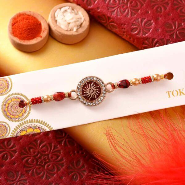 Traditional Rakhi with Side Silvery Stones