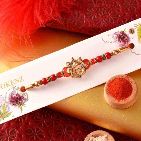 Traditional Golden color Ganesh rakhi