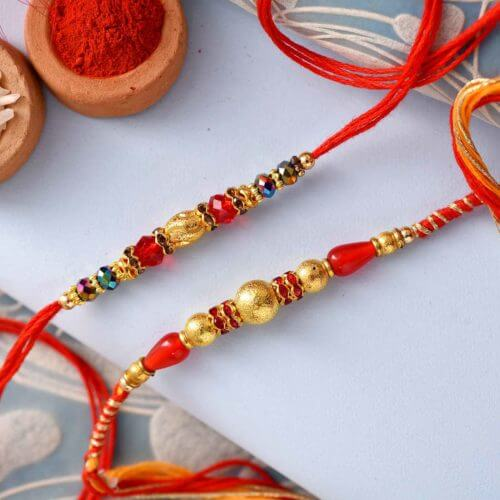 Traditional Pearls and Mulitcolor Beads Rakhi( Set of 2)
