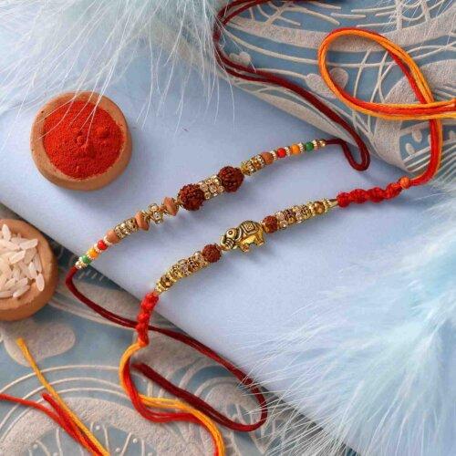 Classic Rudraksh and multicolor beads rakhi