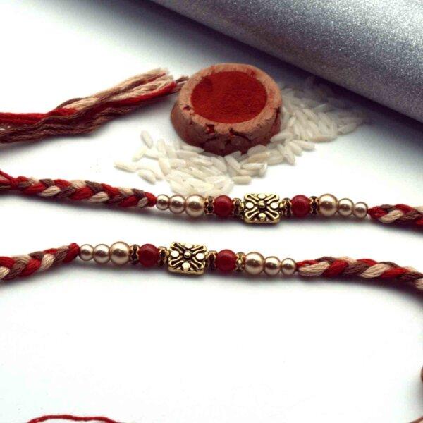 Floral Antique Rakhi Set of 2