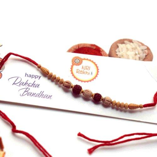 Auspicious Rudraksha with Wooden Beads Rakhi