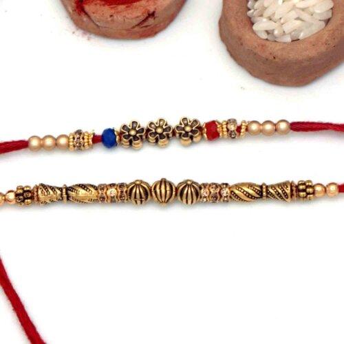 Antique Golden Rakhis -Set of 2