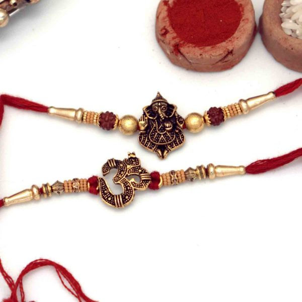 Traditional Ganesha & Om Rakhi-Set of 2