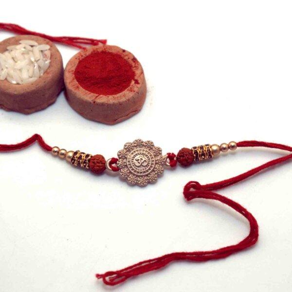 Exquisite Om Rakhi with Rudraksha
