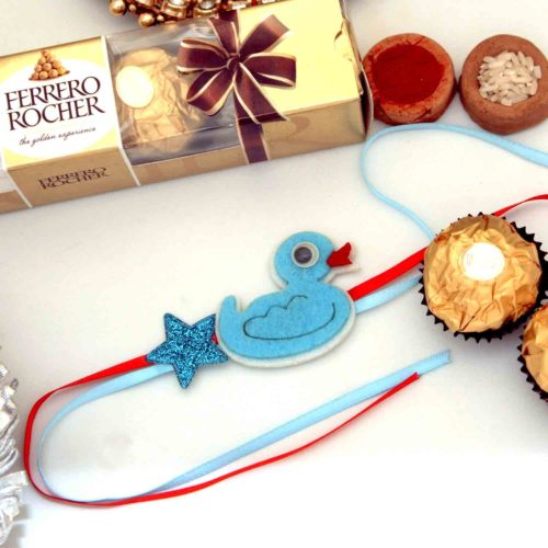 Adorable Little Duck Kids Rakhi with Ferrero Rocher