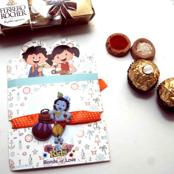 Playful Krishan Kids Rakhi with Ferrero Rocher