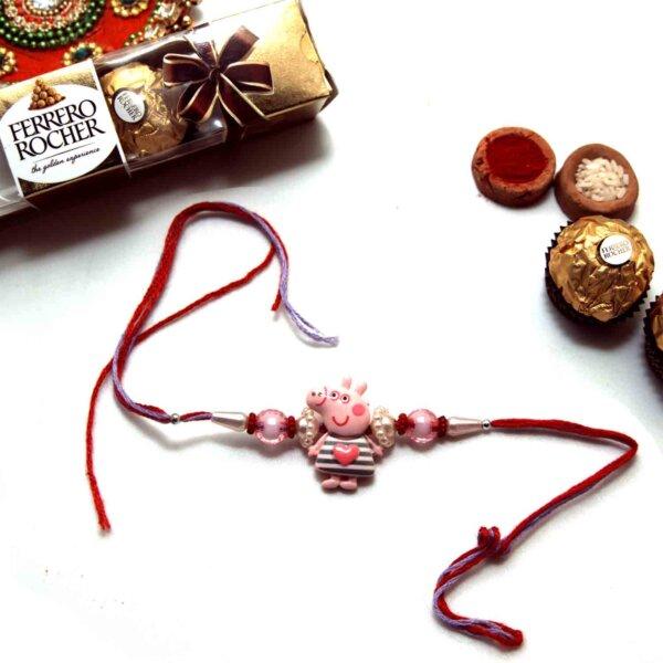 Lovable Peppa Pig Rakhi with Ferrero Rocher