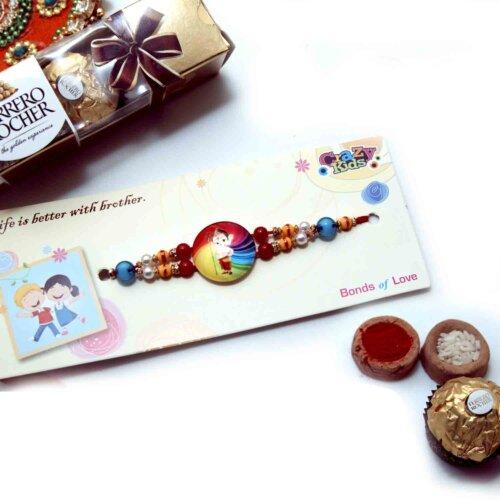 Bal Ganesha and Colourful Beads Kids Rakhi with Ferrero Rocher