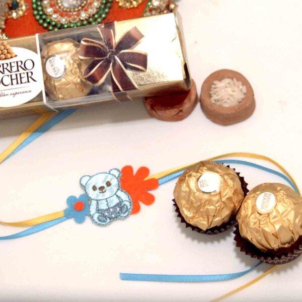 Cute Bear Kids Rakhi with Ferrero Rocher