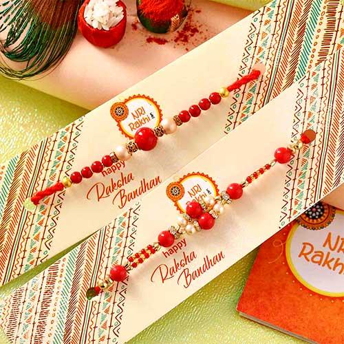 Red set of 2 rakhis