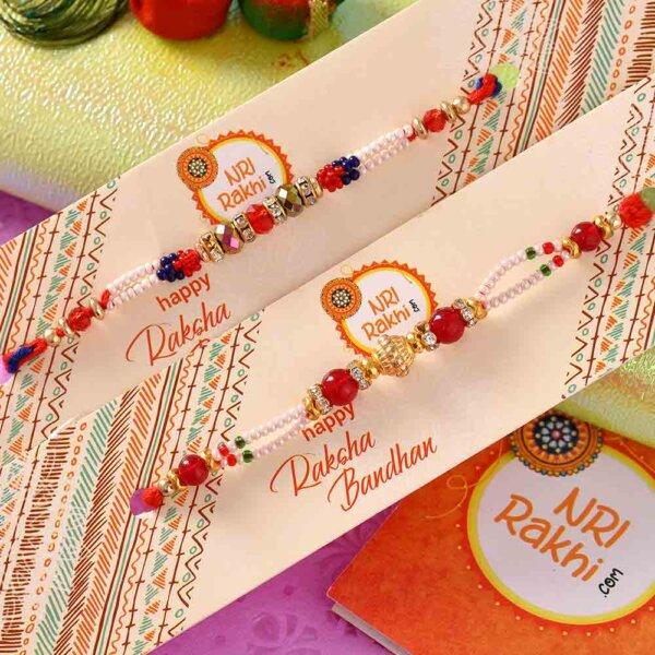 Beads and pearl rakhi set