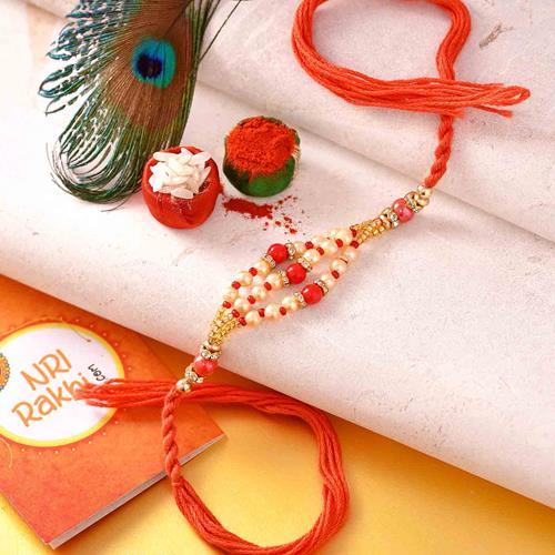 White and Red Beaded Rakhi