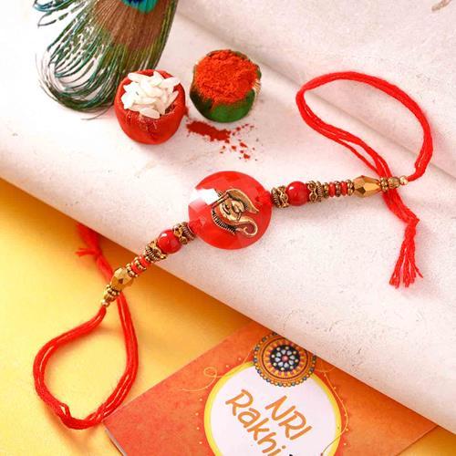 Red Dial Ganesha Rakhi