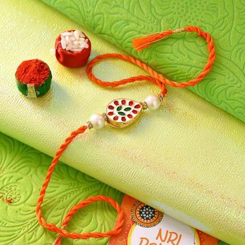 Pure Kundan and Meena Orange Rakhi