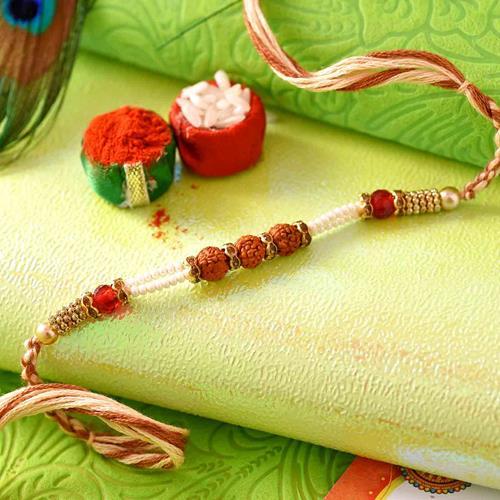 Tridev Rudraksh with Pearl rakhi